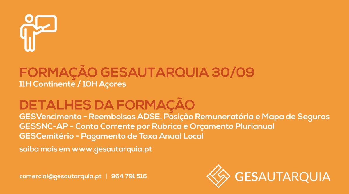 Formação GESAutarquia 30/09 Continente - 11H / Açores - 10H