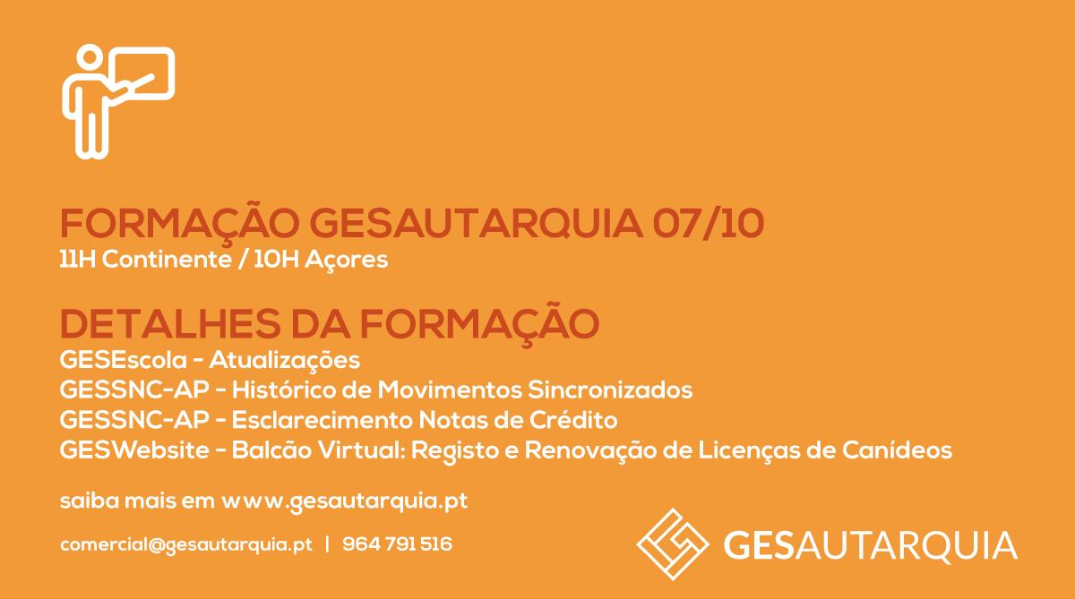 Formação GESAutarquia 07/10 Continente - 11H / Açores - 10H