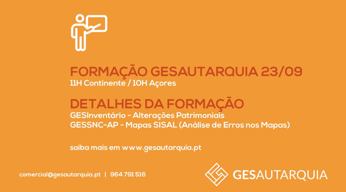 Formação GESAutarquia 23/09 Continente - 11H / Açores - 10H