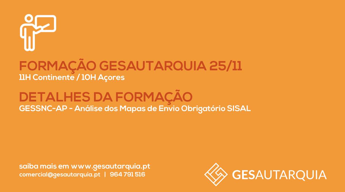 Formação GESAutarquia 25/11 Continente - 11H / Açores - 10H