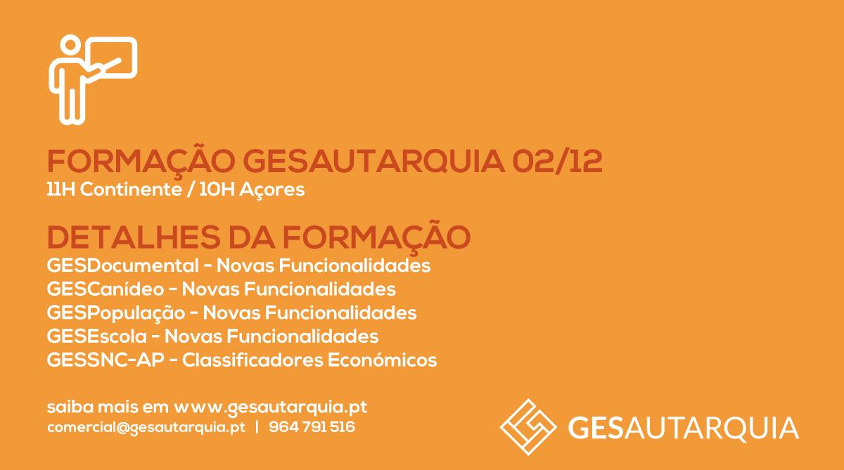 Formação GESAutarquia 02/12 Continente - 11H / Açores - 10H